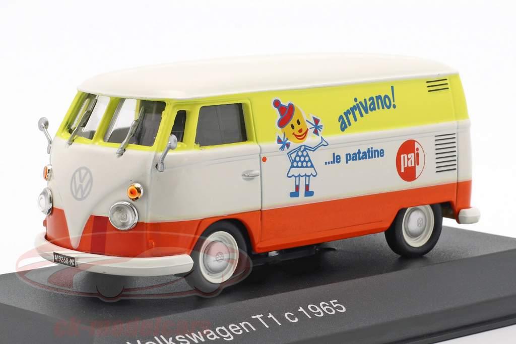 Volkswagen VW T1c bus Opførselsår 1965 hvid / appelsin / gul 1:43 Altaya