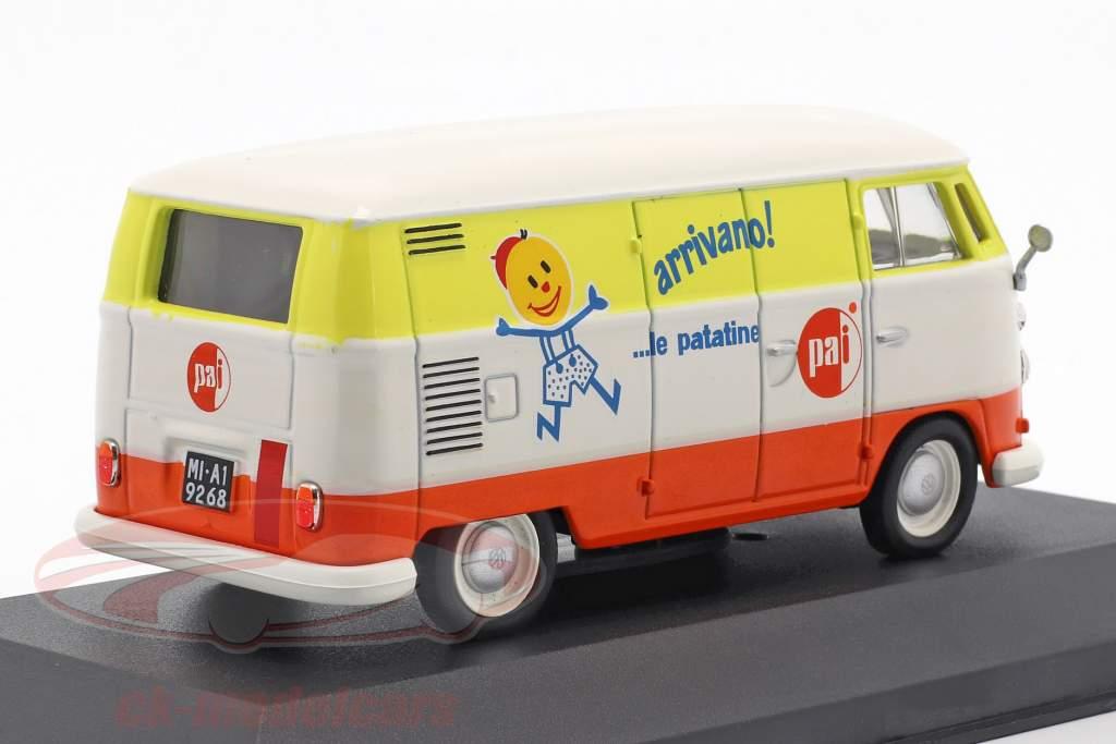 Volkswagen VW T1c autobus anno di costruzione 1965 bianco / arancione / giallo 1:43 Altaya