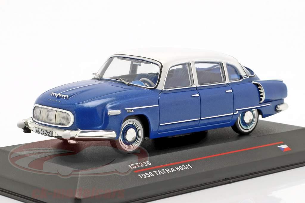 Tatra 603/1 année de construction 1958 bleu métallique / blanc 1:43 Ixo