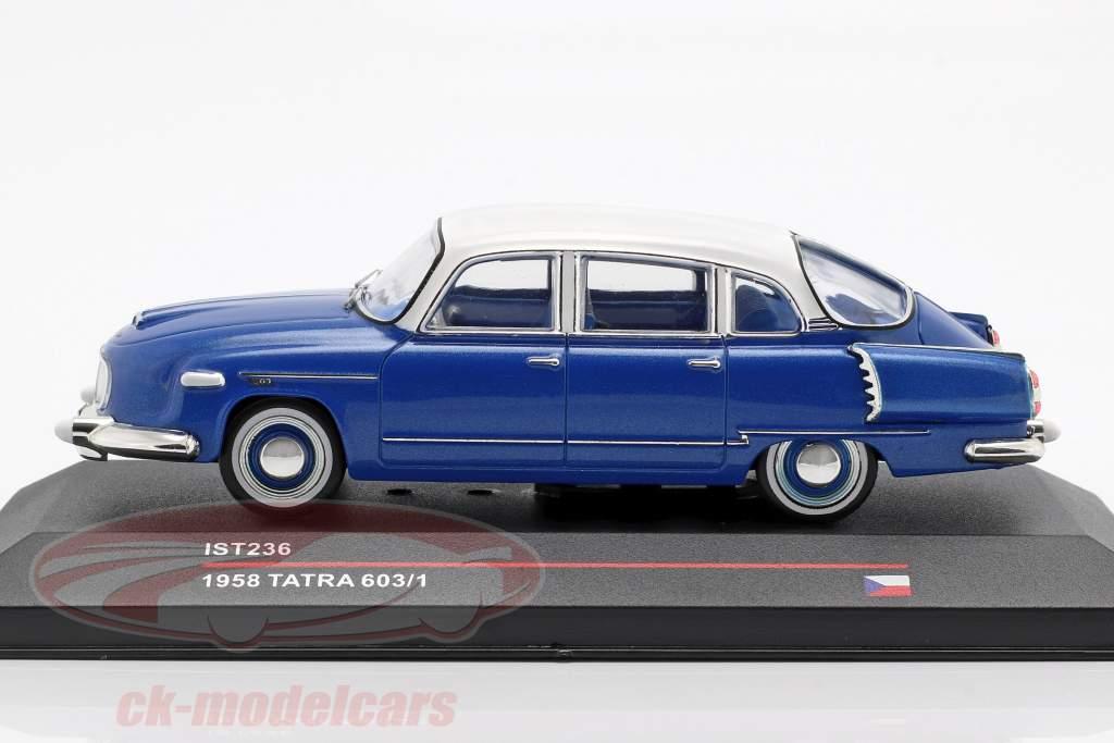 Tatra 603/1 Opførselsår 1958 blå metallisk / hvid 1:43 Ixo