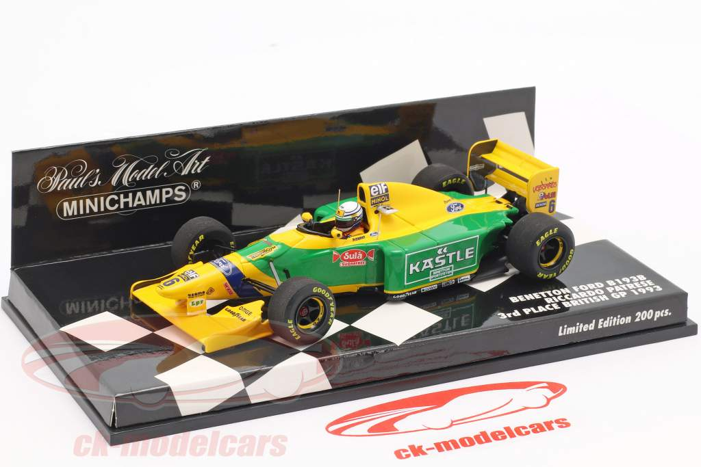 Riccardo Patrese Benetton B193B #6 3ª Grã-Bretanha GP F1 1993 1:43 Minichamps