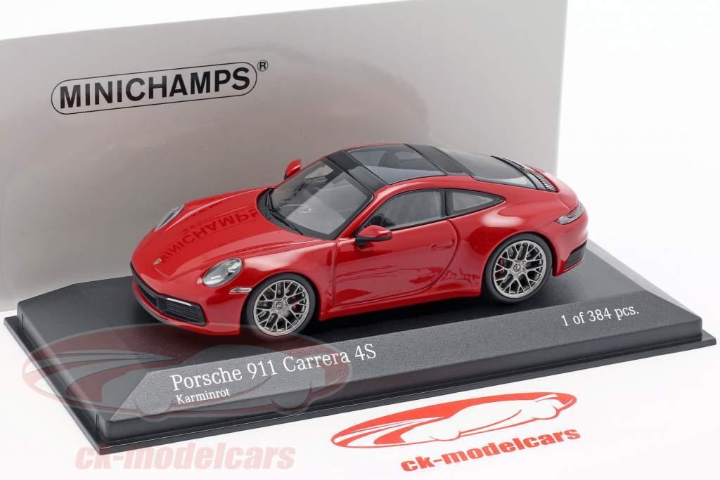 Porsche 911 (992) Carrera 4S ano de construção 2019 carmim vermelho 1:43 Minichamps