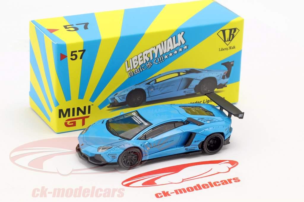 LB Works Lamborghini Aventador LHD bleu clair 1:64 True Scale