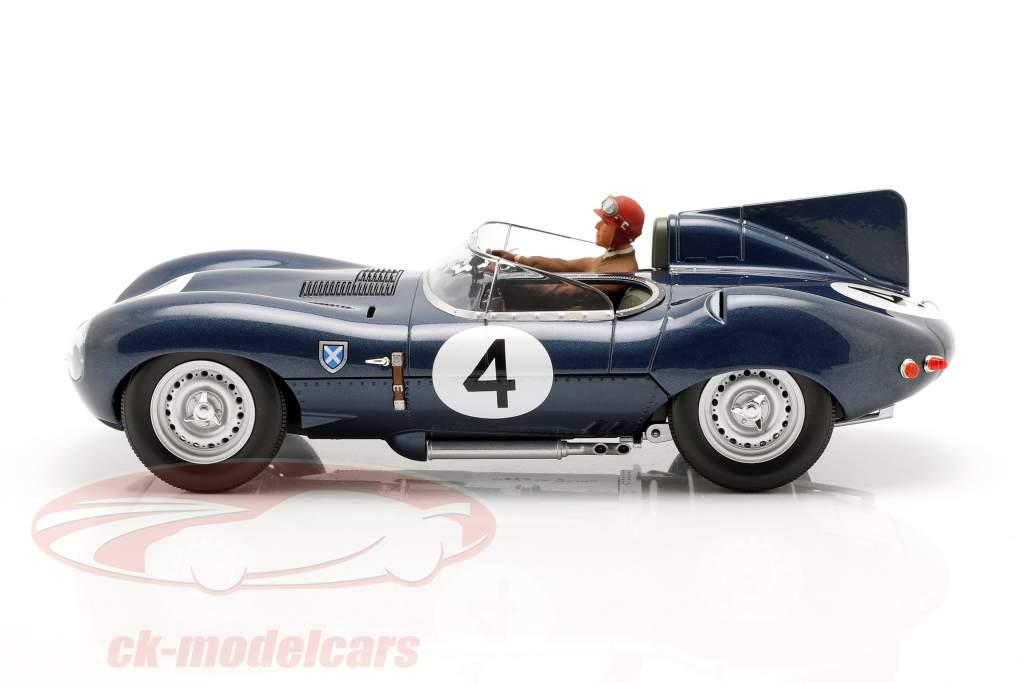 Set: Jaguar D-Type #4 vencedor 24h LeMans 1956 com motorista figura 1:18 CMR