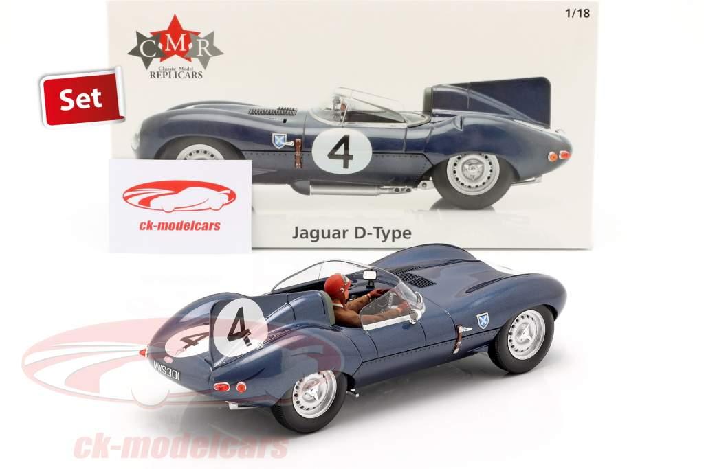 Set: Jaguar D-Type #4 gagnant 24h LeMans 1956 avec conducteur figure 1:18 CMR