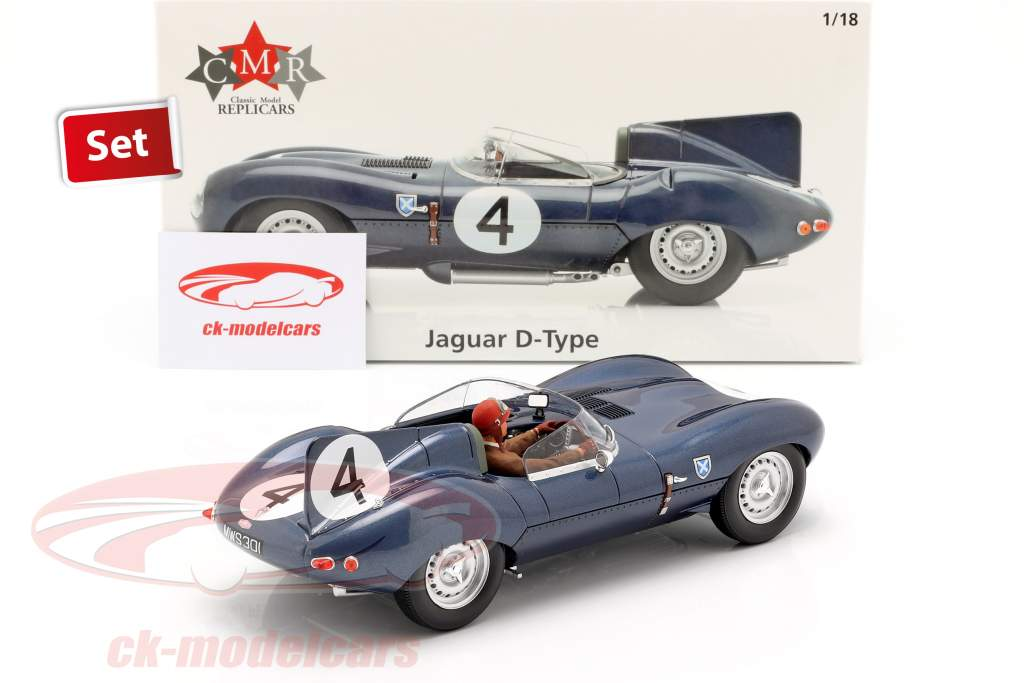 Set: Jaguar D-Type #4 ganador 24h LeMans 1956 con conductor figura 1:18 CMR