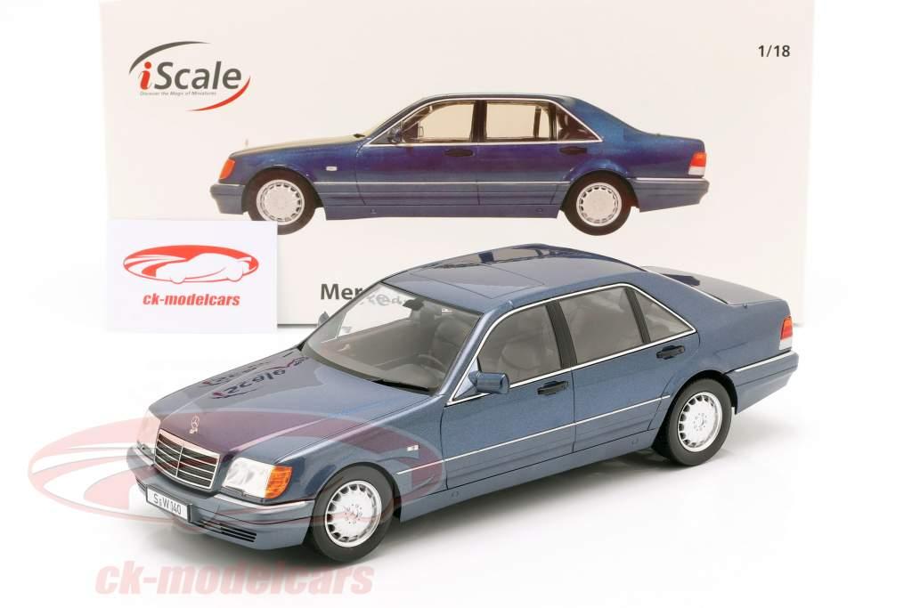 Mercedes-Benz S500 (W140) Bouwjaar 1994-98 Azurit blauw / grijs 1:18 iScale