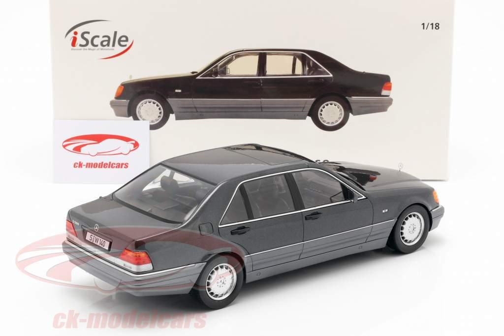Mercedes-Benz S500 (W140) anno di costruzione 1994-98 grigio scuro metallico / grigio 1:18 iScale