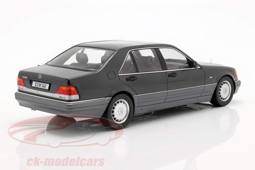 Mercedes-Benz S500 (W140) year 1994-98 dark gray metallic / grey 1:18 iScale