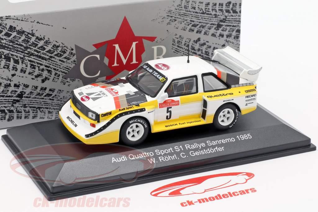 Audi Sport Quattro S1 #5 ganador Rallye SanRemo 1985 Röhrl, Geistdörfer 1:43 CMR