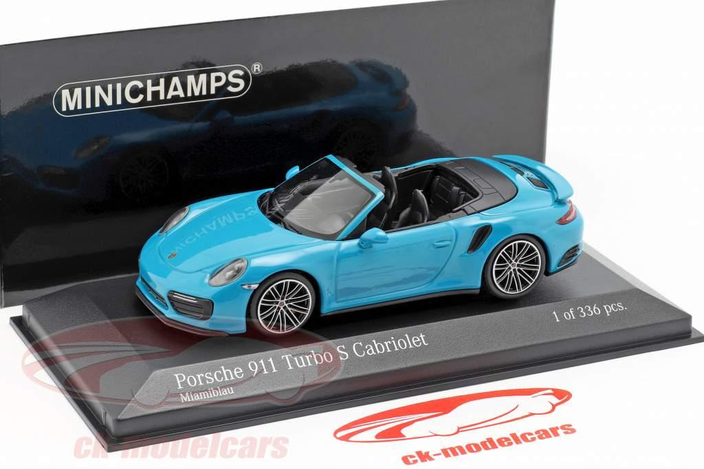 Porsche 911 (991 II) Turbo S cabriolet anno di costruzione 2016 miami blu 1:43 Minichamps