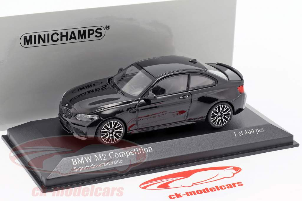 BMW M2 Competition ano de construção 2019 safira preto metálico 1:43 Minichamps