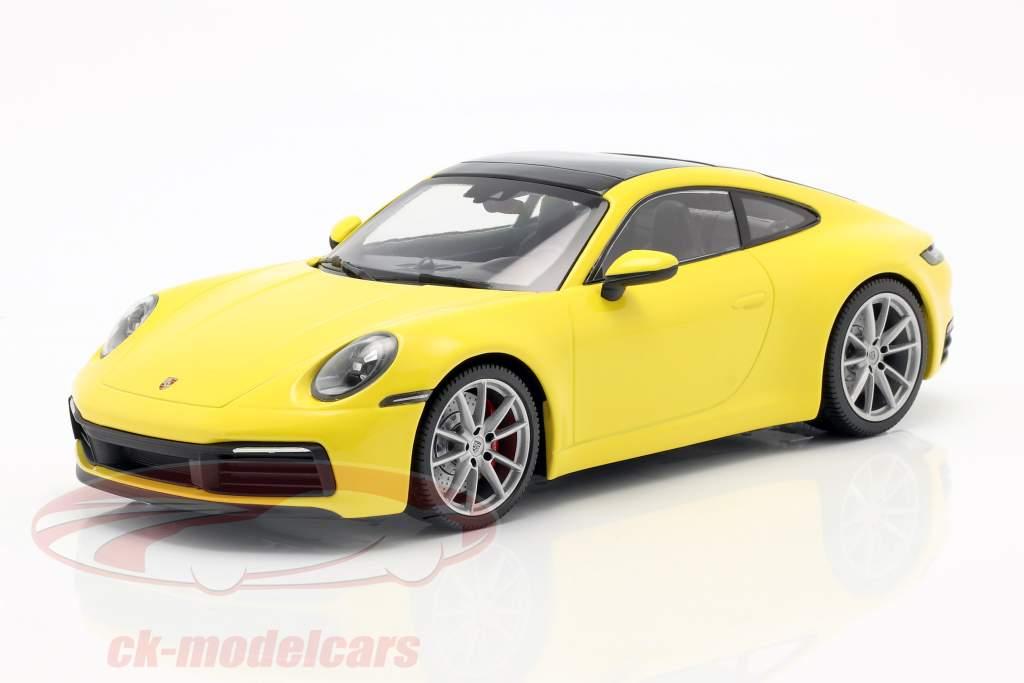 Porsche 911 (992) 4S Opførselsår 2019 gul 1:18 Minichamps