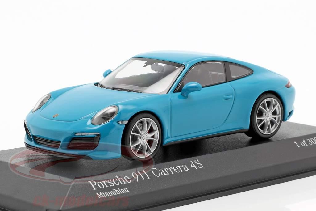 Porsche 911 (991 II) Carrera 4S year 2016 miami blue 1:43 Minichamps