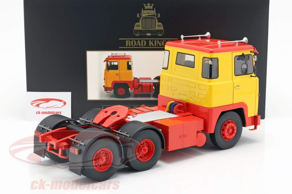 Scania LBT 141 Traktor Opførselsår 1976 gul / rød 1:18 Road Kings
