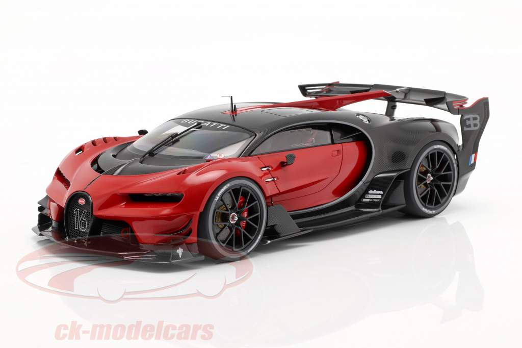 Bugatti vision GT year 2015 italian red / carbon black 1:18 AUTOart