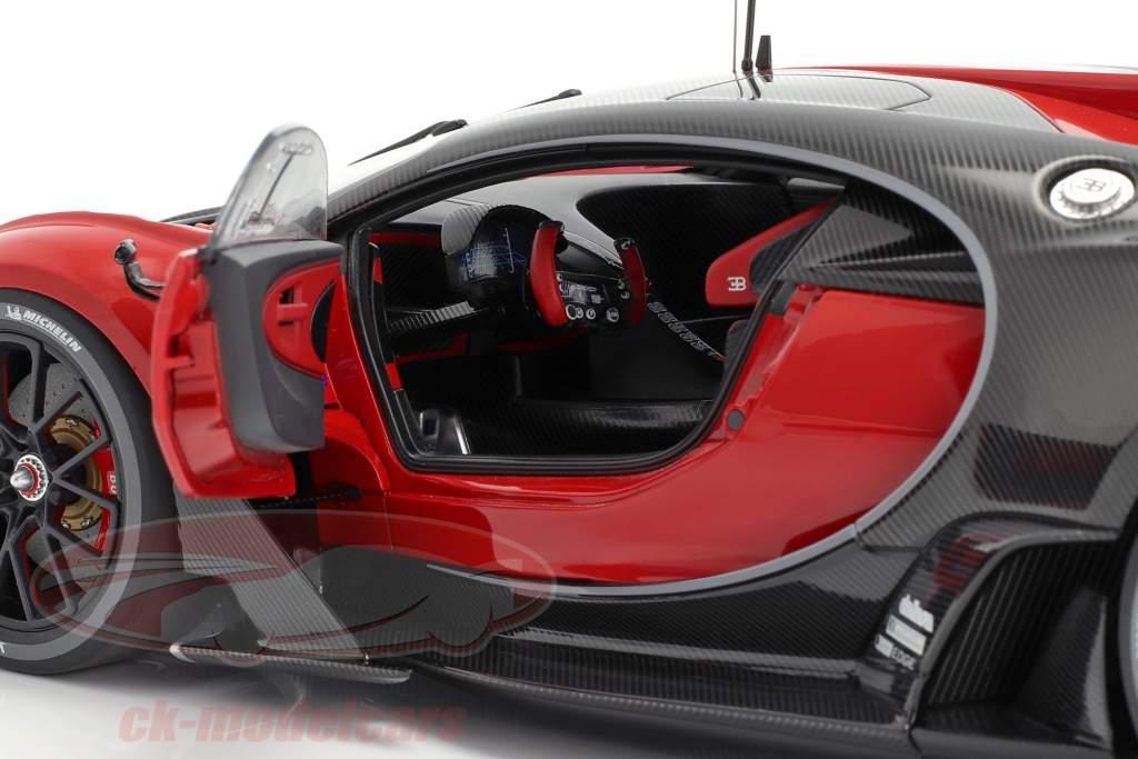 Bugatti visie GT Bouwjaar 2015 italian rood / carbon zwart 1:18 Autoart