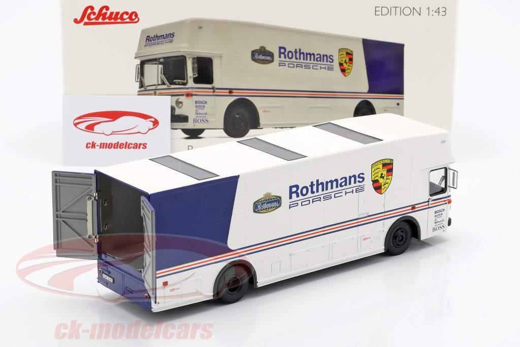 Mercedes-Benz O 317 gara camion Rothmans Porsche bianco / blu 1:43 Schuco