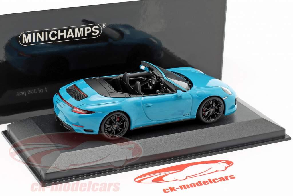 Porsche 911 (991 II) Carrera 4 GTS Cabriolet 2016 miami blauw 1:43 Minichamps