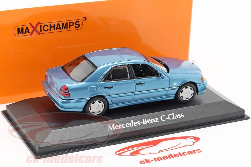 Mercedes-Benz C-Klasse (W202) Bouwjaar 1997 blauw metalen 1:43 Minichamps