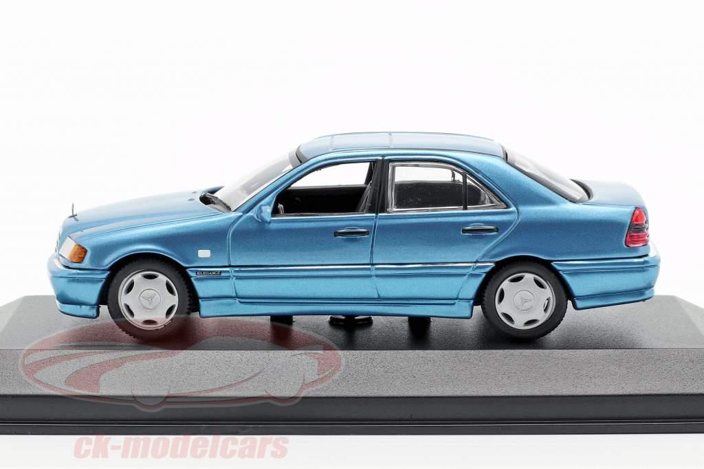 Mercedes-Benz C-klasse (W202) Opførselsår 1997 blå metallisk 1:43 Minichamps