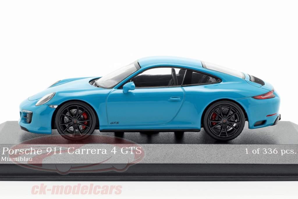 Porsche 911 (991 II) Carrera 4 GTS Bouwjaar 2017 miami blauw 1:43 Minichamps