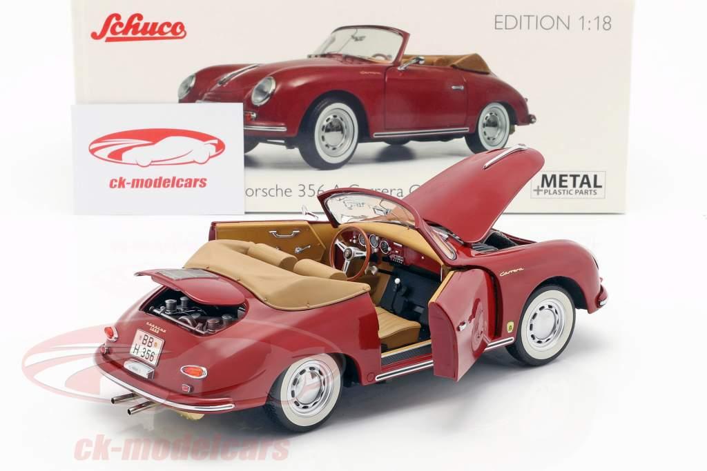 Porsche 356A Carrera Cabriolet rubin rød 1:18 Schuco