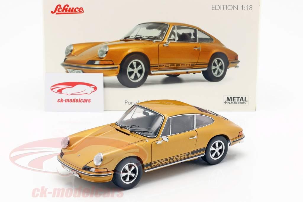 Porsche 911 S coupe Bouwjaar 1973 goud metalen 1:18 Schuco