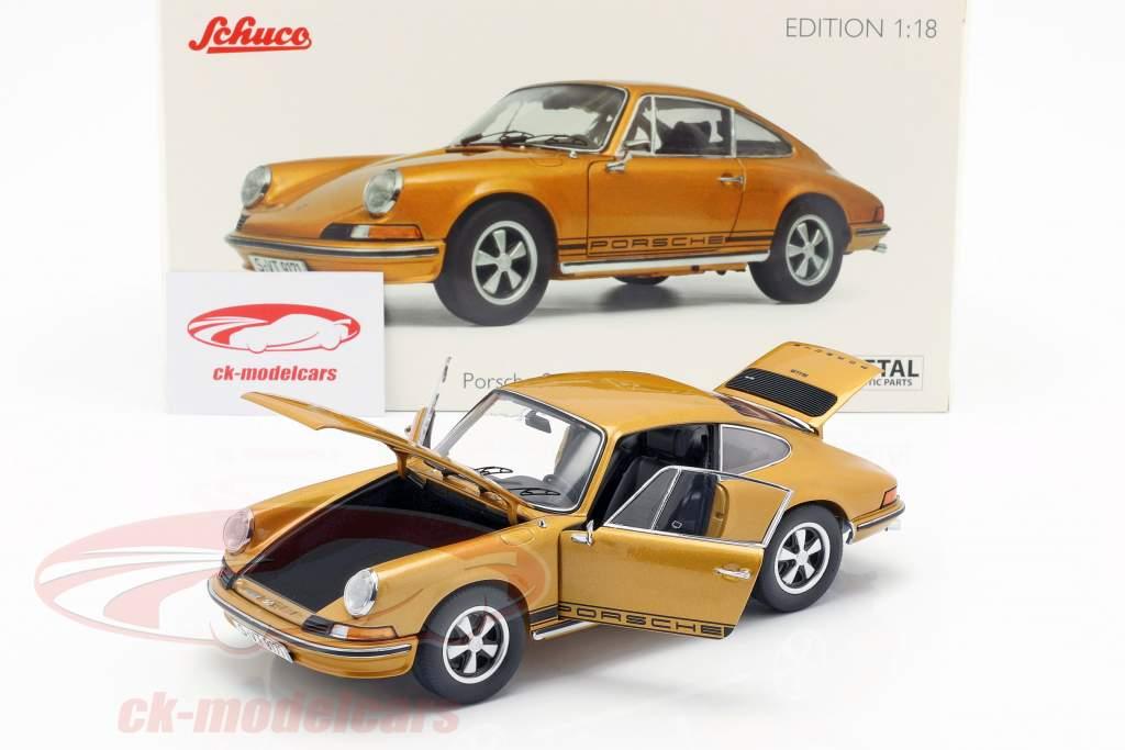 Porsche 911 S coupé année de construction 1973 or métallique 1:18 Schuco