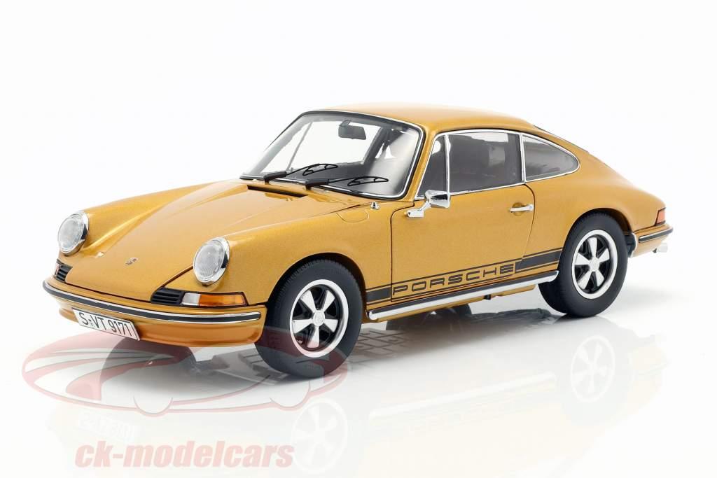 Porsche 911 S coupe ano de construção 1973 ouro metálico 1:18 Schuco
