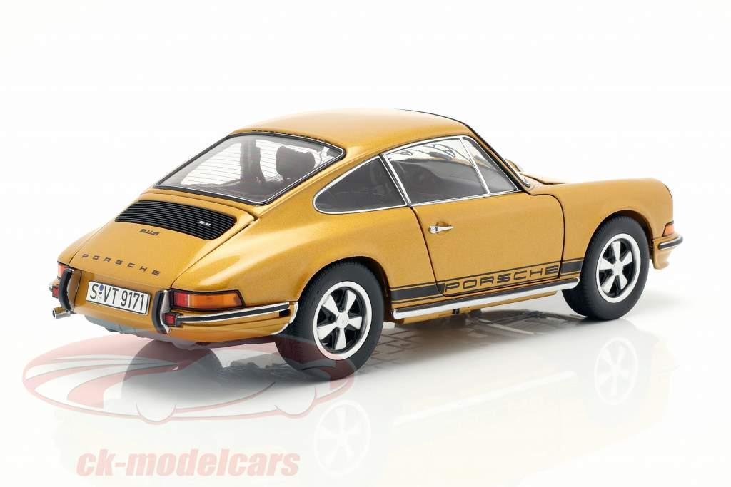 Porsche 911 S coupe año de construcción 1973 oro metálico 1:18 Schuco