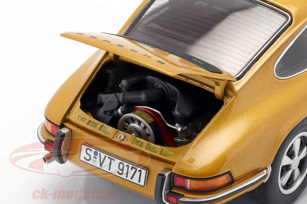 Porsche 911 S coupe year 1973 gold metallic 1:18 Schuco