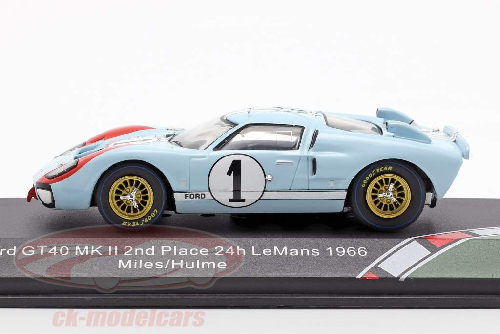 Ford GT40 MK II #1 segundo 24h LeMans 1966 Miles, Hulme 1:43 CMR