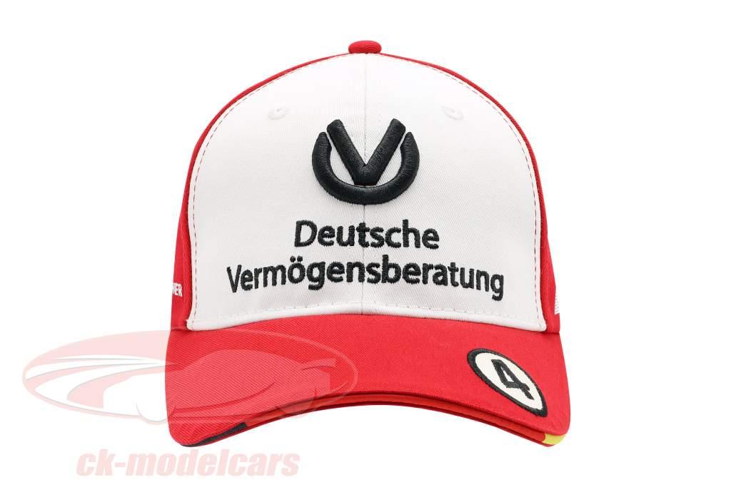 Mick Schumacher Cap #4 formule 3 kampioen 2018 rood / wit