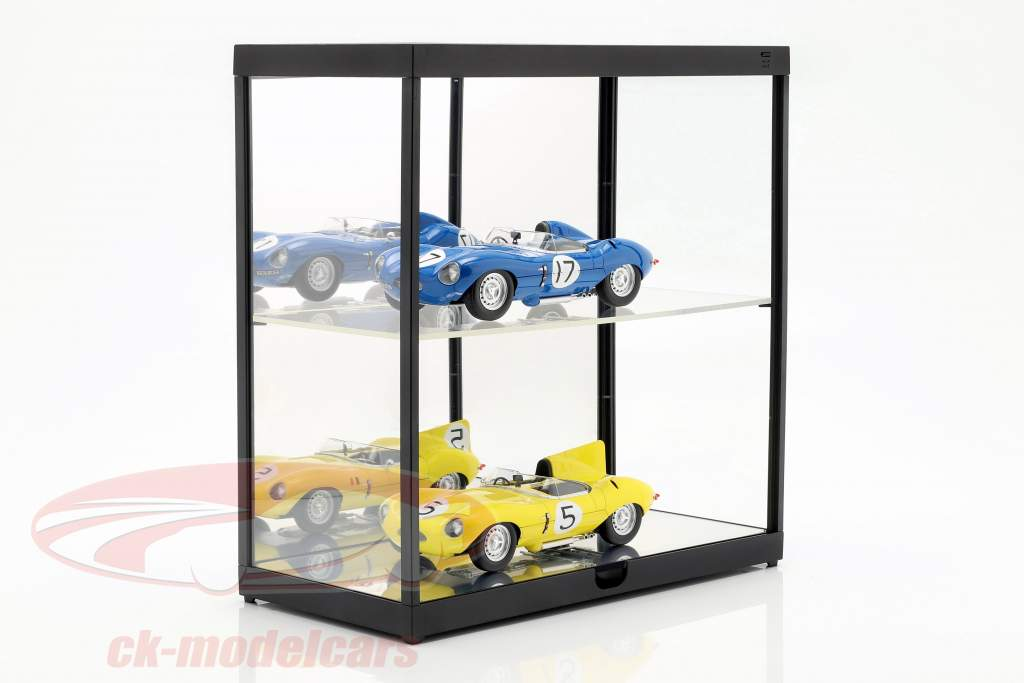 Double showcase with LED lighting for model cars in scale 1:18 black Triple9