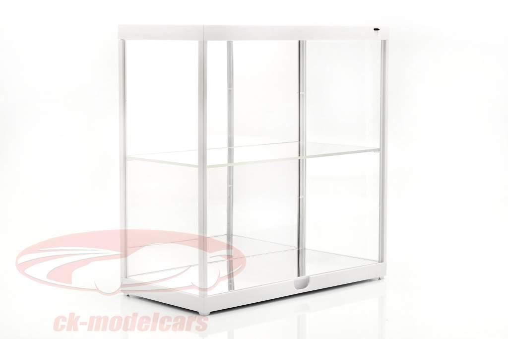 doppia vetrina con illuminazione a LED per modellini di automobili in scala 1:18 bianco Triple9