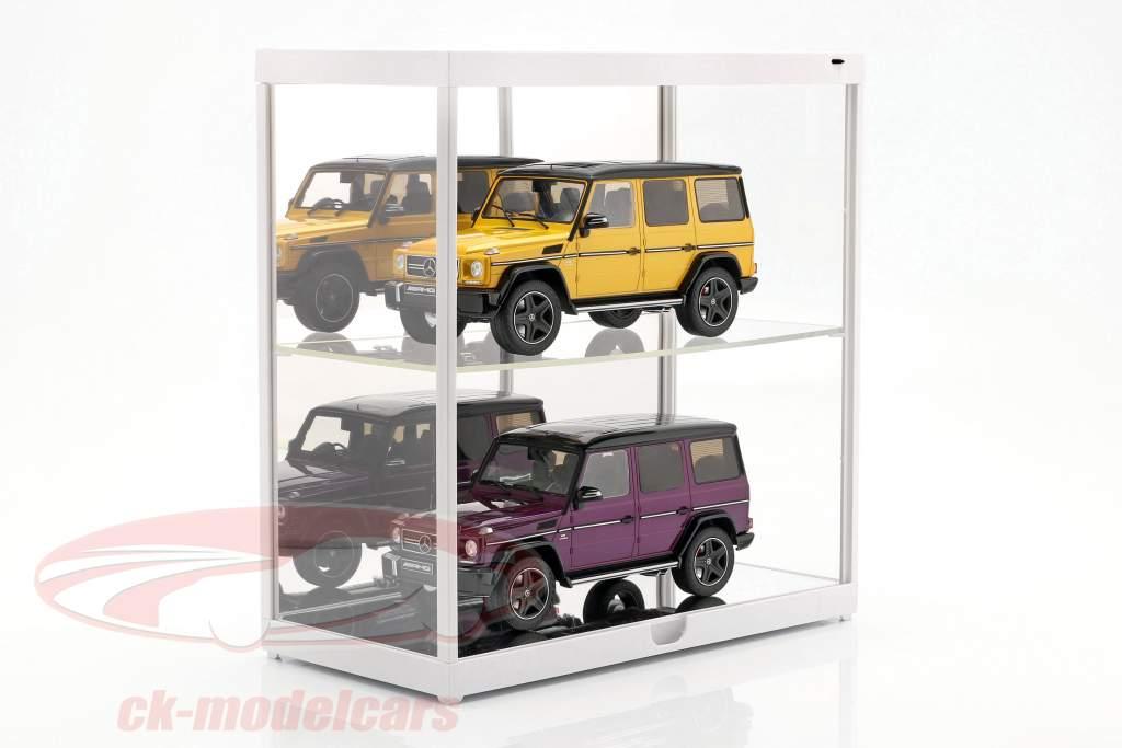 à double vitrine avec éclairage LED pour voitures de modèle en échelle 1:18 blanc Triple9