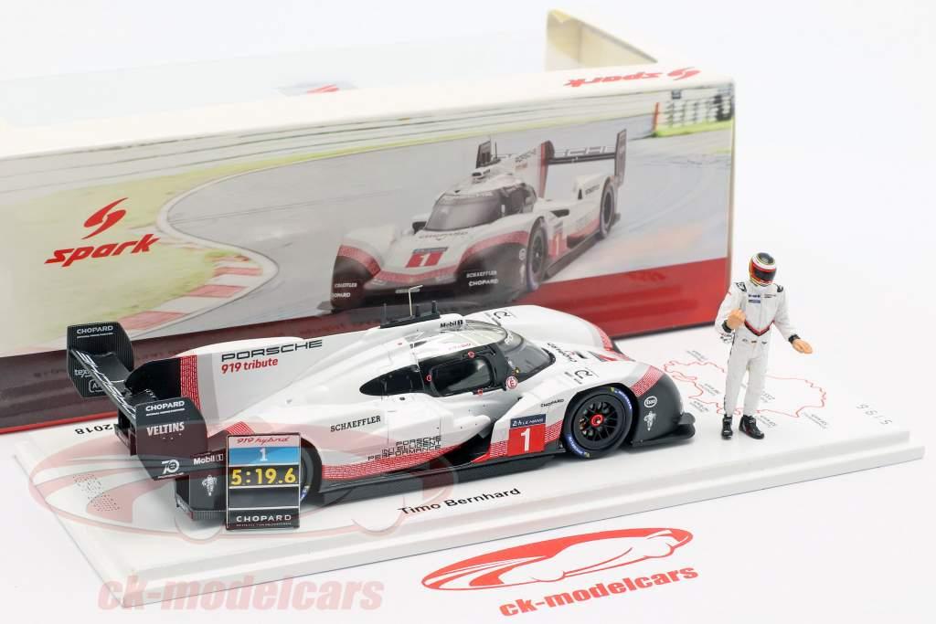 Porsche 919 Hybrid Evo con figura #1 récord de vuelta Nürburgring 2018 T. Bernhard 1:43 Spark