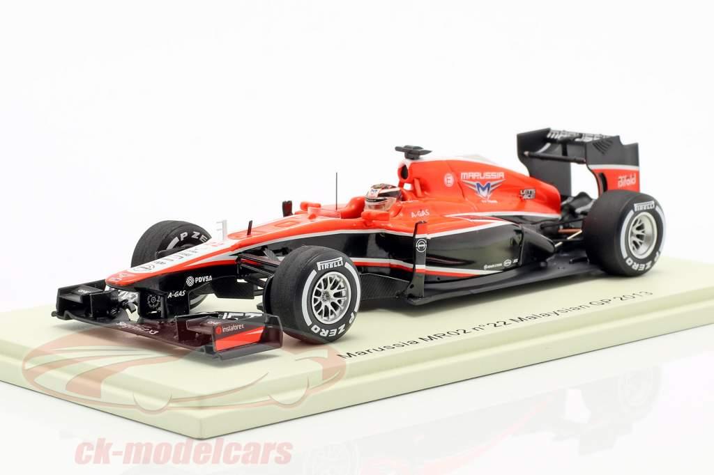 Jules Bianchi Marussia MR02 #22 Malaysia GP formel 1 2013 1:43 Spark