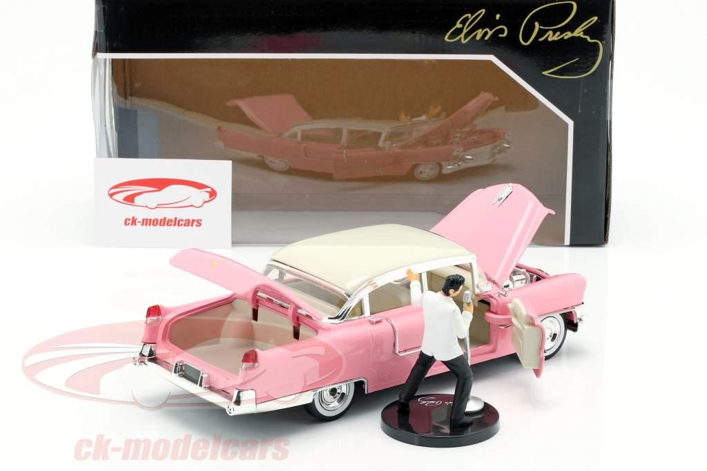 Cadillac Fleetwood 1955 -de-rosa / branco com Elvis Presley figura 1:24 Jada Toys