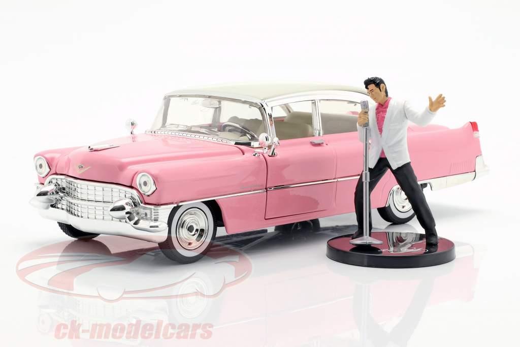 Cadillac Fleetwood 1955 rosa / blanco con Elvis Presley figura 1:24 Jada Toys