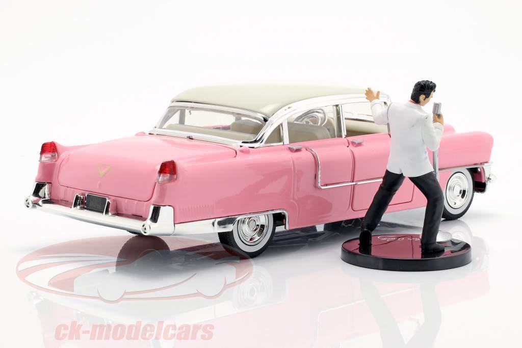 Cadillac Fleetwood 1955 roze / wit met Elvis Presley figuur 1:24 Jada Toys