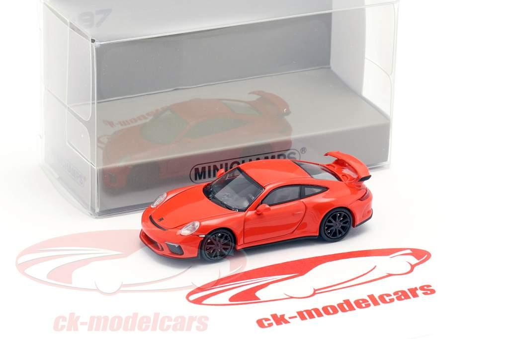 Porsche 911 GT3 Bouwjaar 2017 oranje 1:87 Minichamps