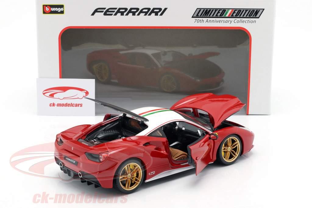 Ferrari 488 GTB The Lauda 70th Anniversary Collection vermelho / branco 1:18 Bburago