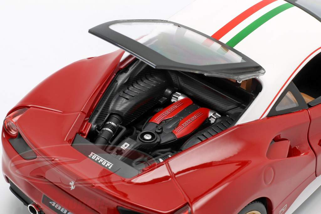 Ferrari 488 GTB The Lauda 70th Anniversary Collection rot / weiß 1:18 Bburago