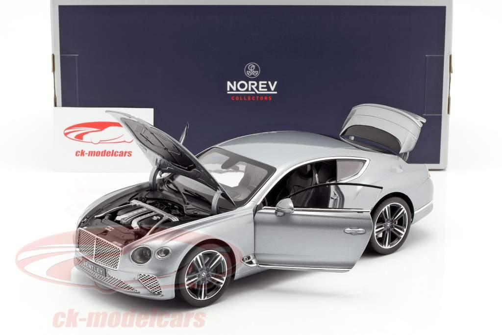 Bentley Continental GT ano de construção 2018 hallmark cinza metálico 1:18 Norev