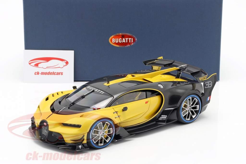 Bugatti Vision GT Bouwjaar 2015 midas geel / carbon zwart 1:18 AUTOart