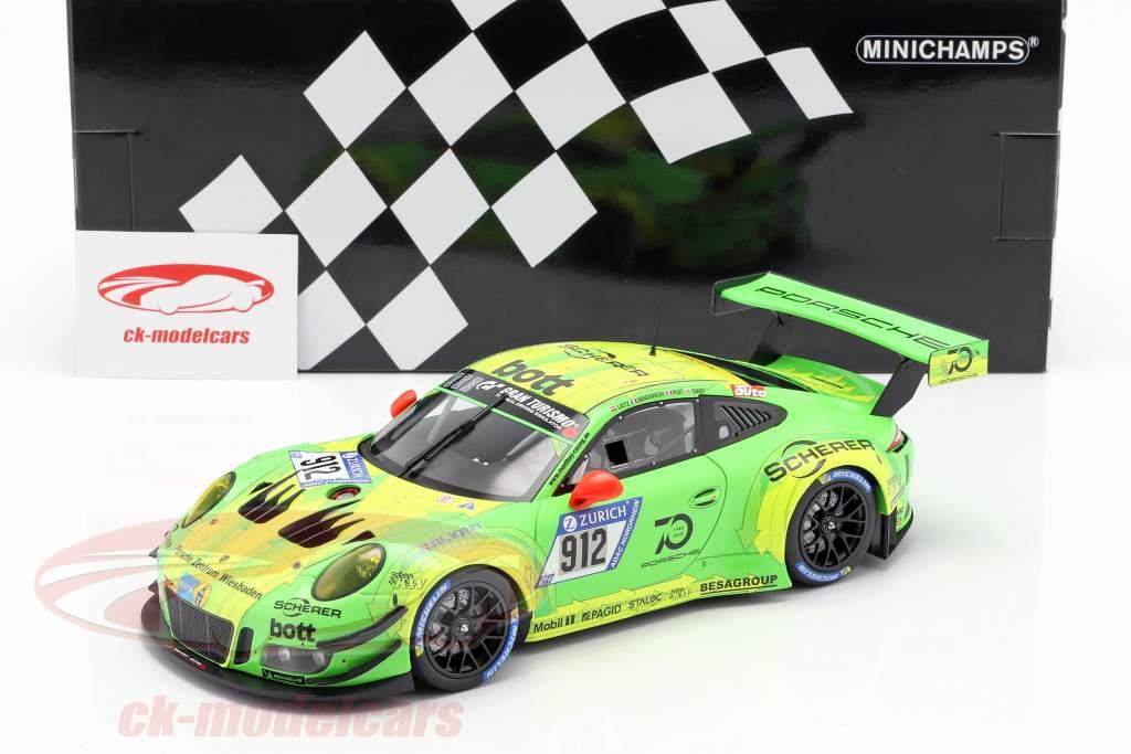 Porsche 911 (991) GT3 R #912 ganador 24h Nürburgring 2018 Manthey Racing 1:18 Minichamps