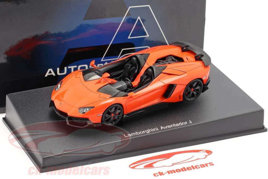 Autoart 1 43 Lamborghini Aventador J Roadster Year 2012 Orange Black 54652 Model Car 54652 674110546521