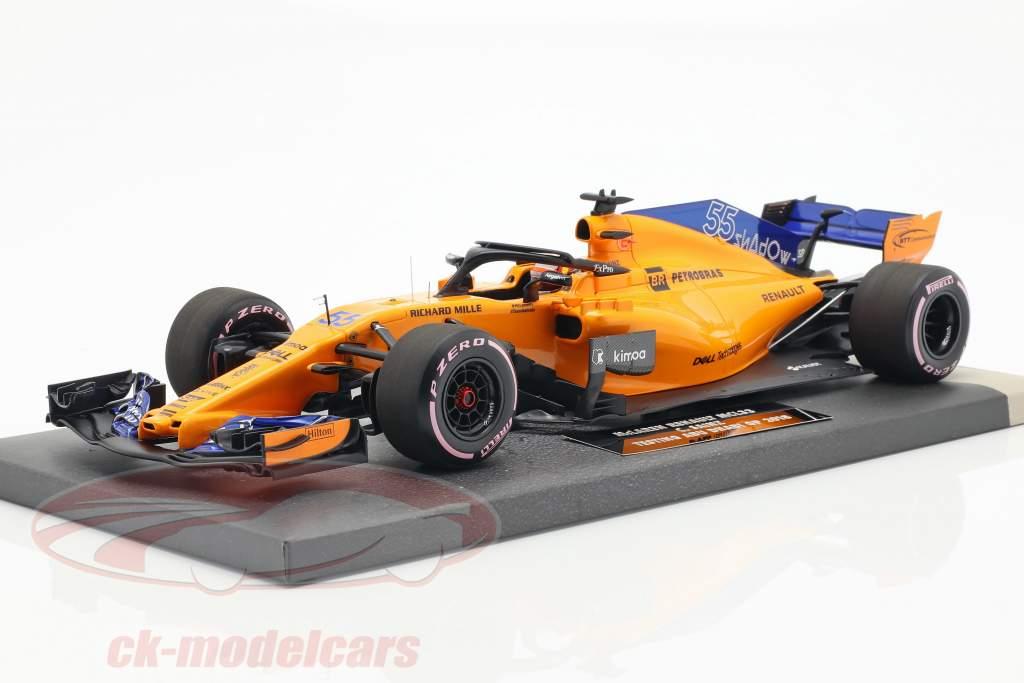 Carlos Sainz jr. McLaren MCL33 #55 teste Abu Dhabi GP F1 2018 1:18 Minichamps